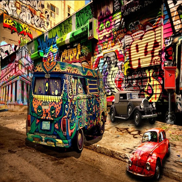 Photo wallpaper 3d hip hop style graffiti bus mural background wall photo wallpaper 3d hip hop style graffiti bus mural background wall decoration painting stereo wallpaper custom voltagebd Images