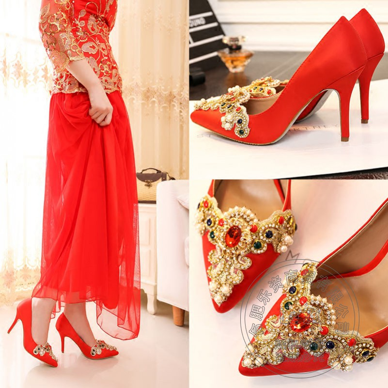Ruby Glass Slipper Crystal Red Lace Rhinestone Dress font b Women b font Wedding Shoes Pumps