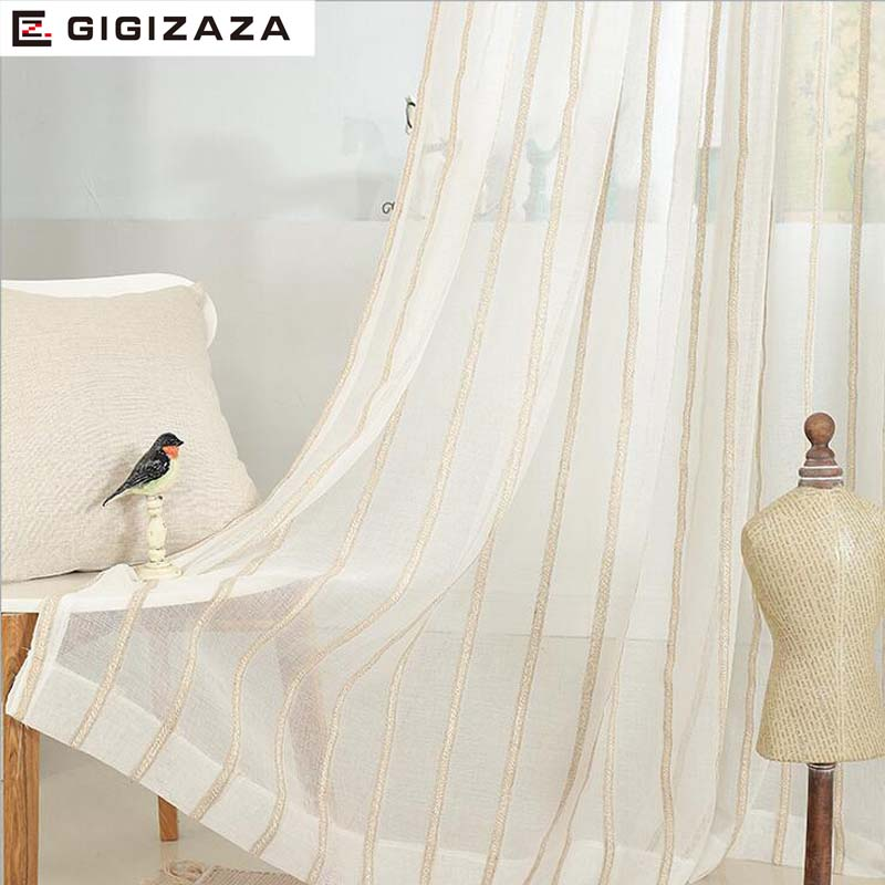 Stripe White Jaquard Voile Curtains For Livingroom 5084inch Tulle Drape Transparent Window Sheer Process