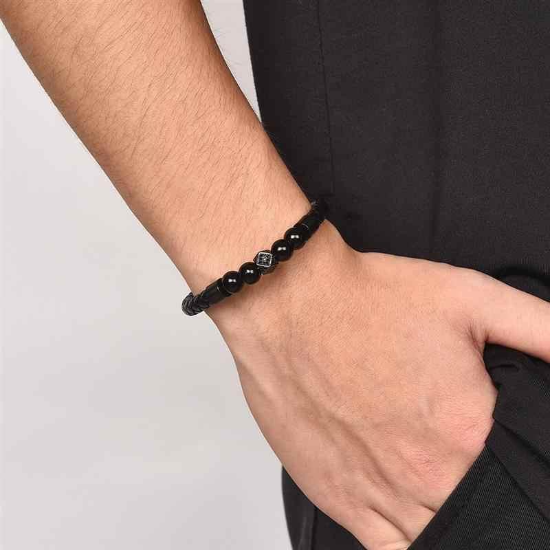 Jiayiqi charme cz grânulos de pedra pulseiras de couro trançado corda preto ouro prata aço inoxidável fecho magnético pulseiras