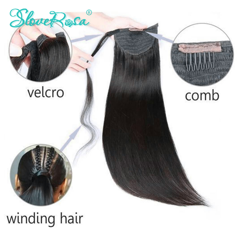 Straight Ponytail Brazilian Hair With Full End Natural Black Color 150g Remy Human Hair Ponytails Clip