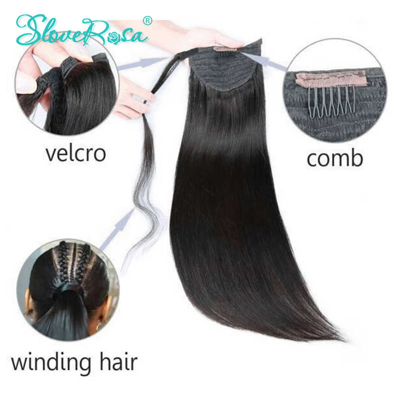 Straight Ponytail Brazilian Hair With Full End Natural Black Color 150g Remy Human Hair Ponytails Clip-In Slove Rose For Woman