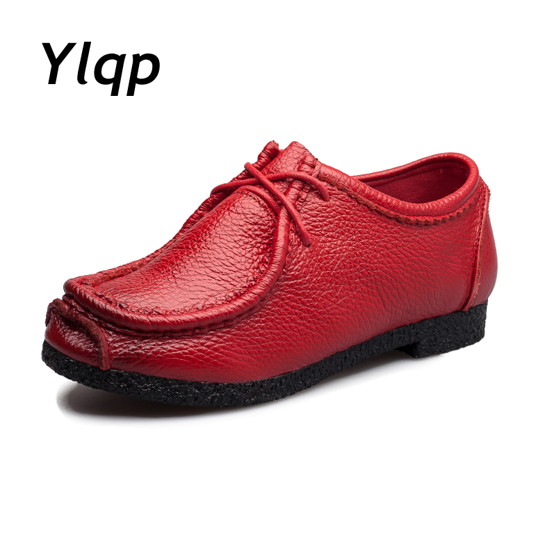 2018 New Arrive Quality Handmade Flats Women Shoes Spring Women Flat Heel Soft Loafers Women Genuine Leather Shoes Zapato mujer new arrive women