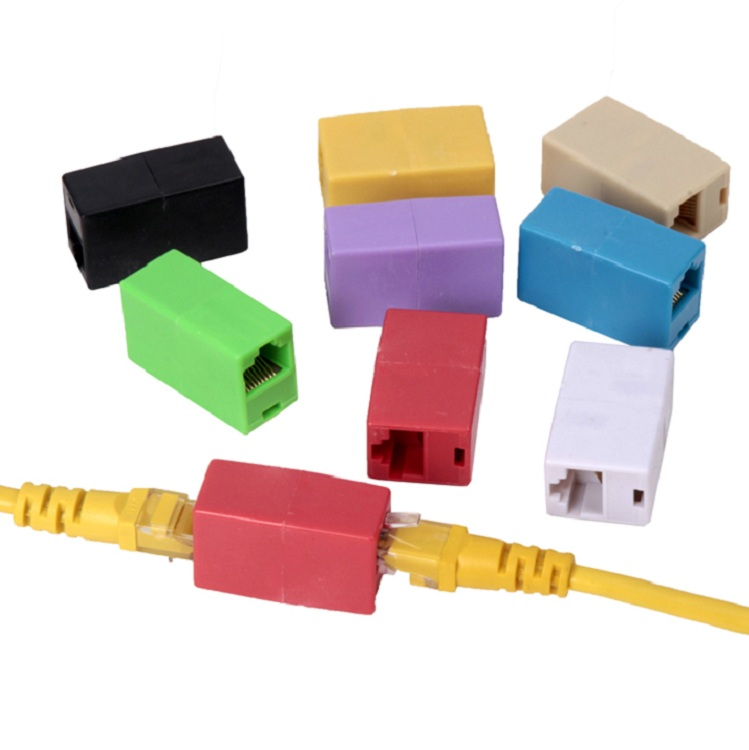 2 шт. RJ45 сетевой кабель разъем адаптера адаптер двойной проход для расширения сети через голову красочные
