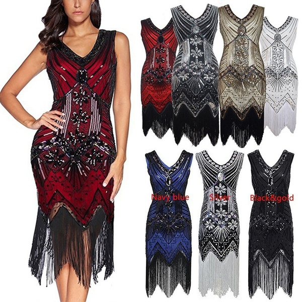 2018 New Women Sexy Vintage 1920s Gatsby Sequin V-Neck Embellished Fringed Flapper Cocktail wedding Dress button embellished retro print notch neck tee