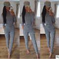 Fall 2016 women sexy rompers grey collar clothes long sleeved Bodycon trousers women black suits Sexy and elegant