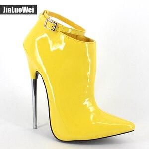 Image 3 - קיצוני גבוהה עקבים נשים אביב סתיו משאבות 18cm מתכת ספייק עקבים הבוהן מחודדת פגיון סקסי קרסול רצועת המפלגה ריקוד נעליים