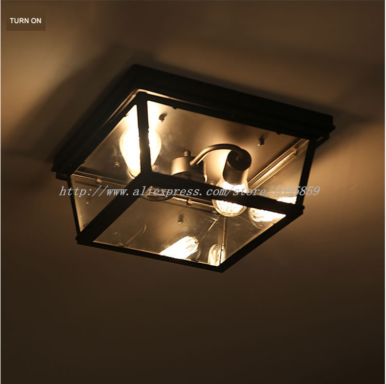 Black Metal Vintage Ceiling Light Lamp Glass Flush Mount Lighting Square Surface D13.7X H17