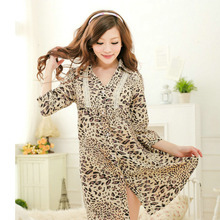 Nightgowns Sleepshirts 2016 Women Summer Style Nightdress Sexy Leopard Satin Chiffon Shirt Sleepwear 8913
