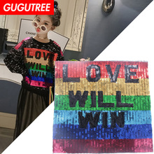 GUGUTREE embroidery Sequins big rainbow patches letter badges applique for clothing XC-292