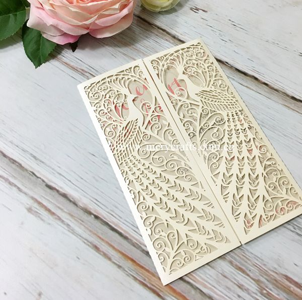 12pcs Free Shipping Laser Cut Peacock Design Wedding Invitation Card