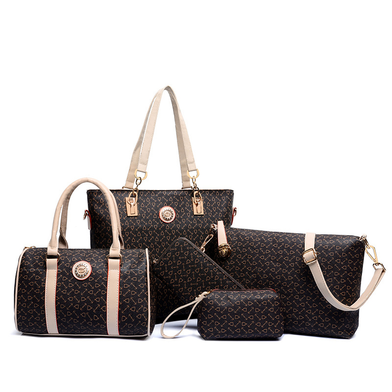 купить Big Volume Female Lady Bags Set Brand Designer Shoulder Bags For Woman Soft PU Leather Bags Fashion Coffee Color Handbags дешево