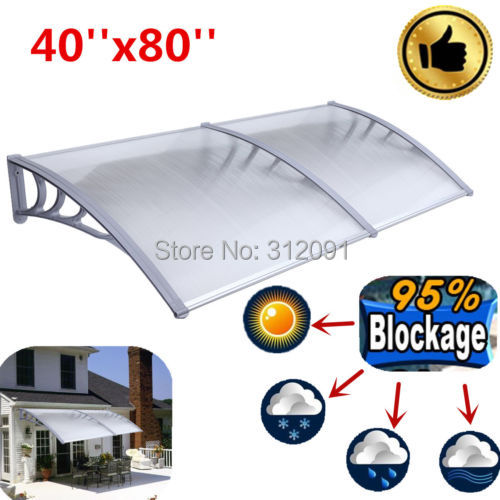 AU Local Shipping- New Arriaval 1M x2M Polycarbonate Outdoor DIY Window Awning Balcony Patio Cover yp80100 80x100cm 80x200cm 80x300cm clear window awning diy overhead door canopy decorator patio cover