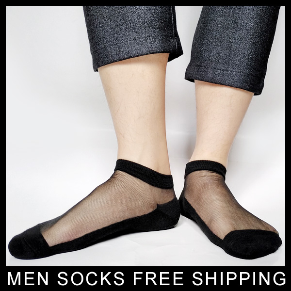 PEAJOA Brand Sexy Black Men Silk socks Transparent Sexy Gay Sheer formal Sock fetish Dress suit socks 1 pair True Pictures