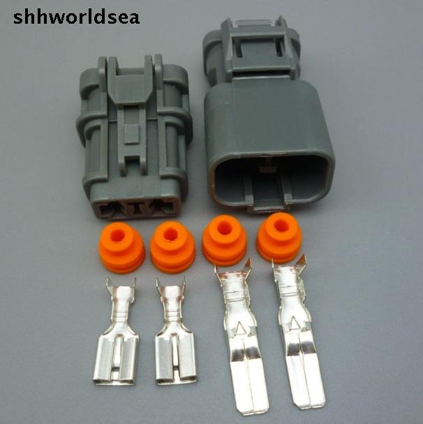 shhworldsea 5/30/100sets kit 6.3mm auto 2 pin electrical plug female male cable pin header connector 7123-6423-30 1pcs gx20 5 pin male
