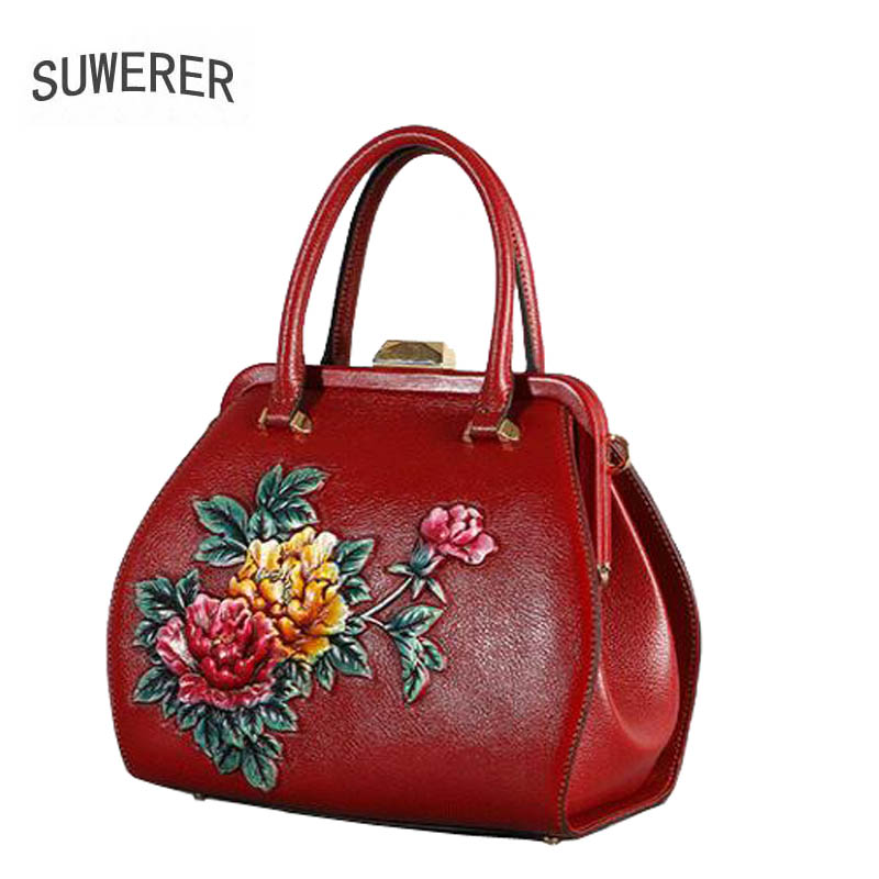Genuine Leather handbag 2018 new luxury embossed handbag Fashion Shoulder Messenger Bag Women's handbags 2018 new leather handbag summer ladies messenger bag leather embossed fashion shoulder bag