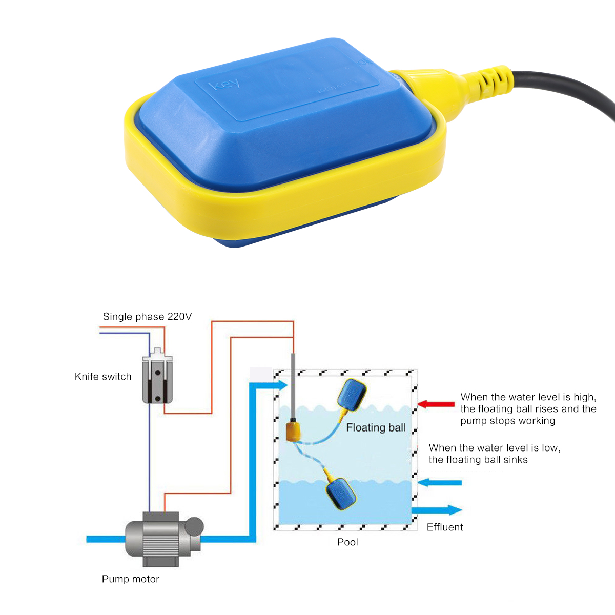 Float Switch 220v Water Level Automatic Pump Control Sensor Plastic 2 Diagram Floating With 5m Cable Liquid Place Submersible Filling Empting