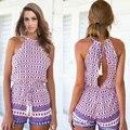 2016 Vestidos de Verão mulheres estilo Sexy Backless Slim Fit Impressão Doce Vestido de Verão Vestido Sem Mangas O Pescoço Casual Vestido Curto