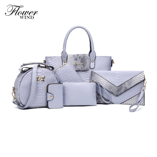 7de03e1e4f66 FLOWER WIND 6 Sets Crocodile Pattern Leather Bags Women Handbag With Metal  Logo bolsa feminina dollar
