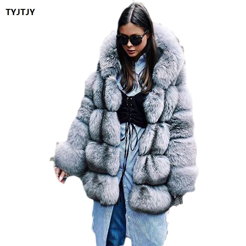 Women Brand Winter Fur Coat Long Faux Fox Coats Luxury  Jacket High Quality