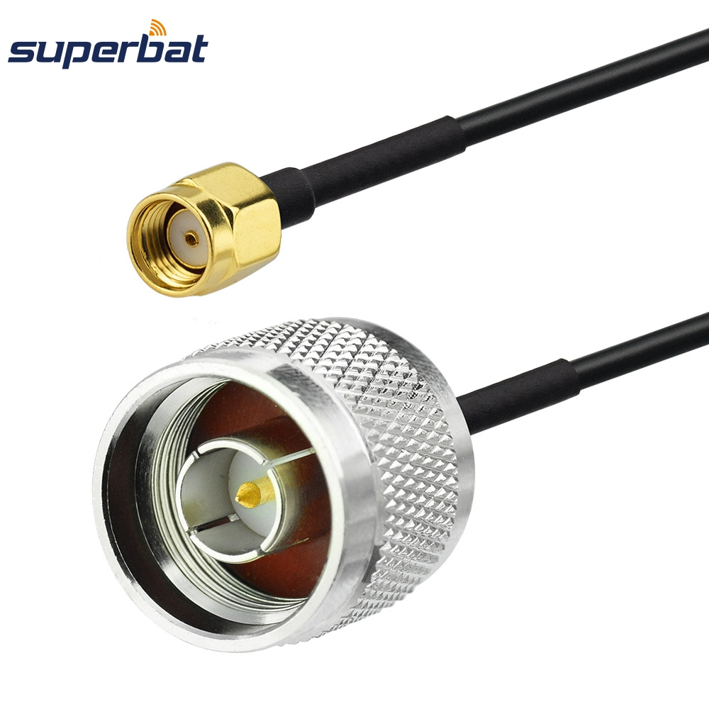 Superbat RP-SMA Plug to N type Male Plug Connector RG174 Coax RF Pigtail Extension Cable Jumper 40cm for Wifi Antenna