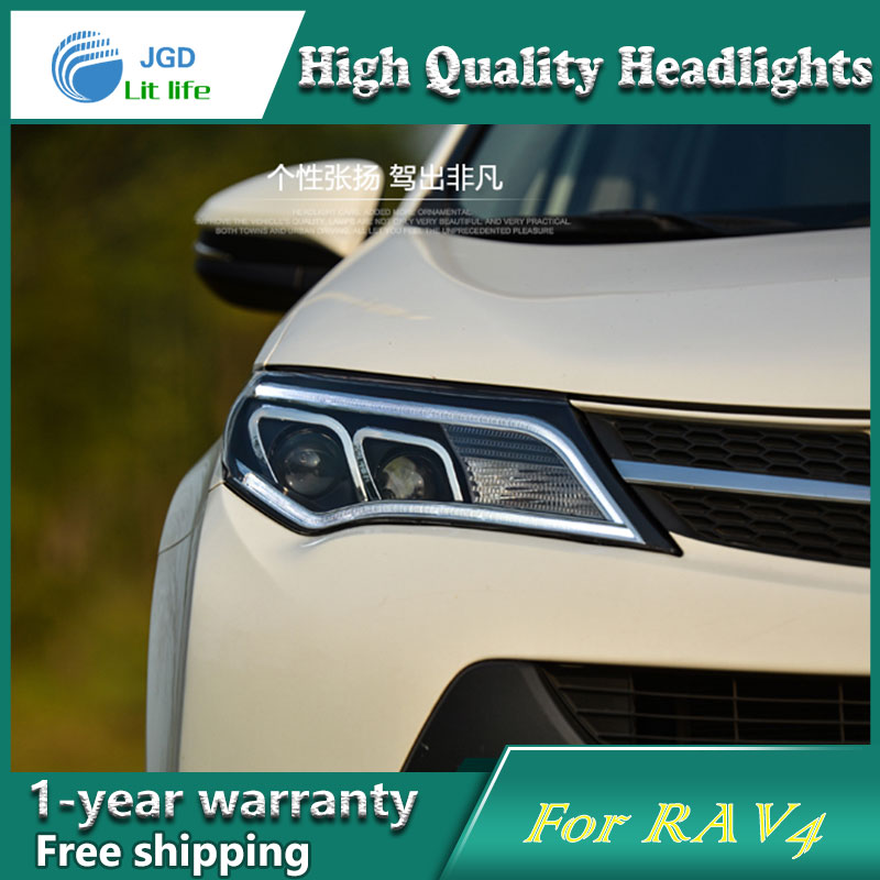 Car Styling Head Lamp case for Toyota RAV4 2013-2015 Headlights LED Headlight DRL Lens Double Beam Bi-Xenon HID car Accessories hireno headlamp for 2016 hyundai elantra headlight assembly led drl angel lens double beam hid xenon 2pcs