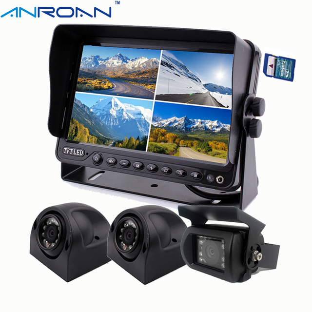 Backup Camera System >> 9 Dvr Video Recorder Quad Split Monitor Truck Rear View Camera System Backup Camera Kit For Caravan Trailers Harvester