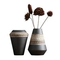 Still Life Black Clay Flower Pot Retro Soil Coarse Combination Floor Large Vase Antique Flower Arrangement Japanese Decoration