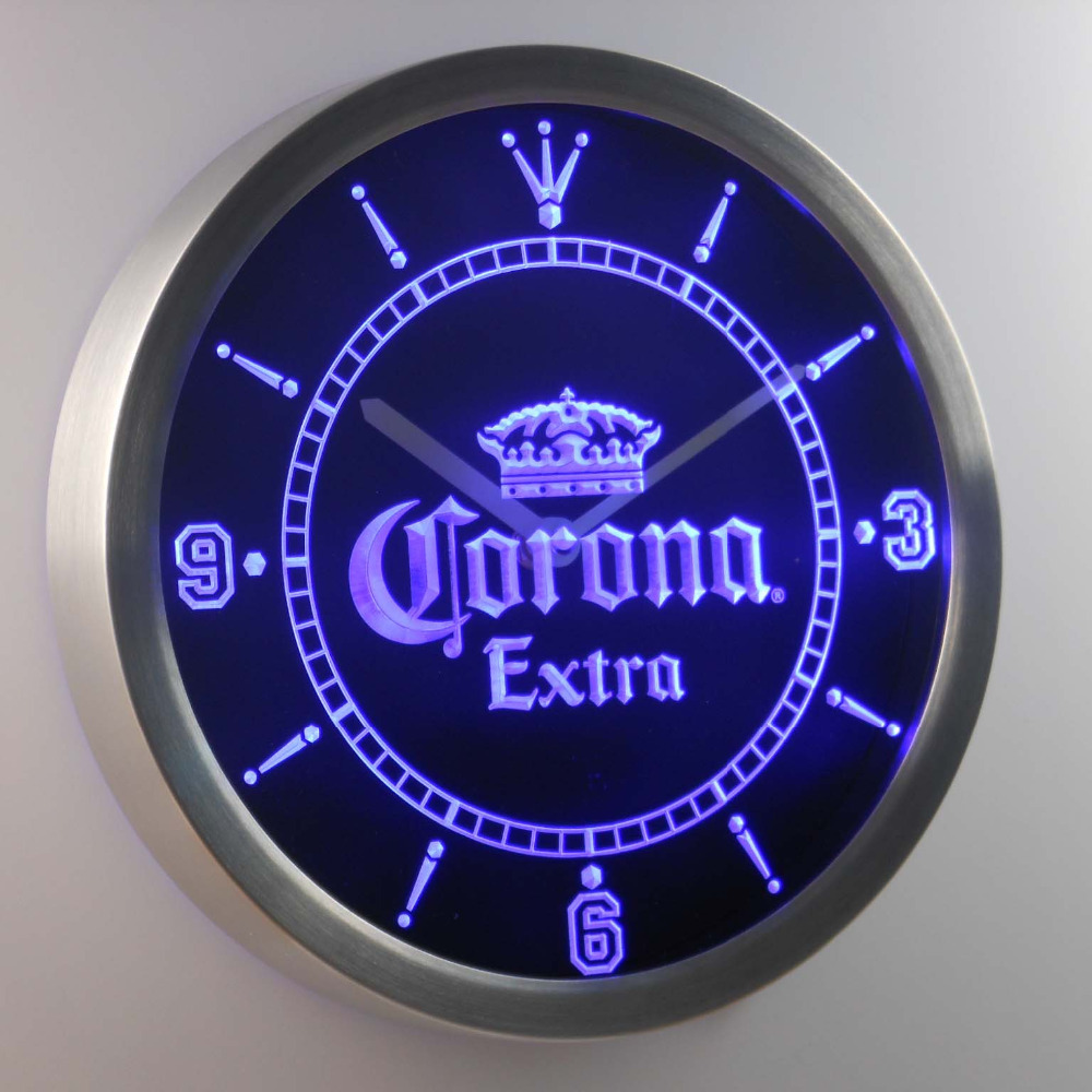 Nc0092 Corona Extra Couronne Beer Bar Neon Sign Horloge Murale LED