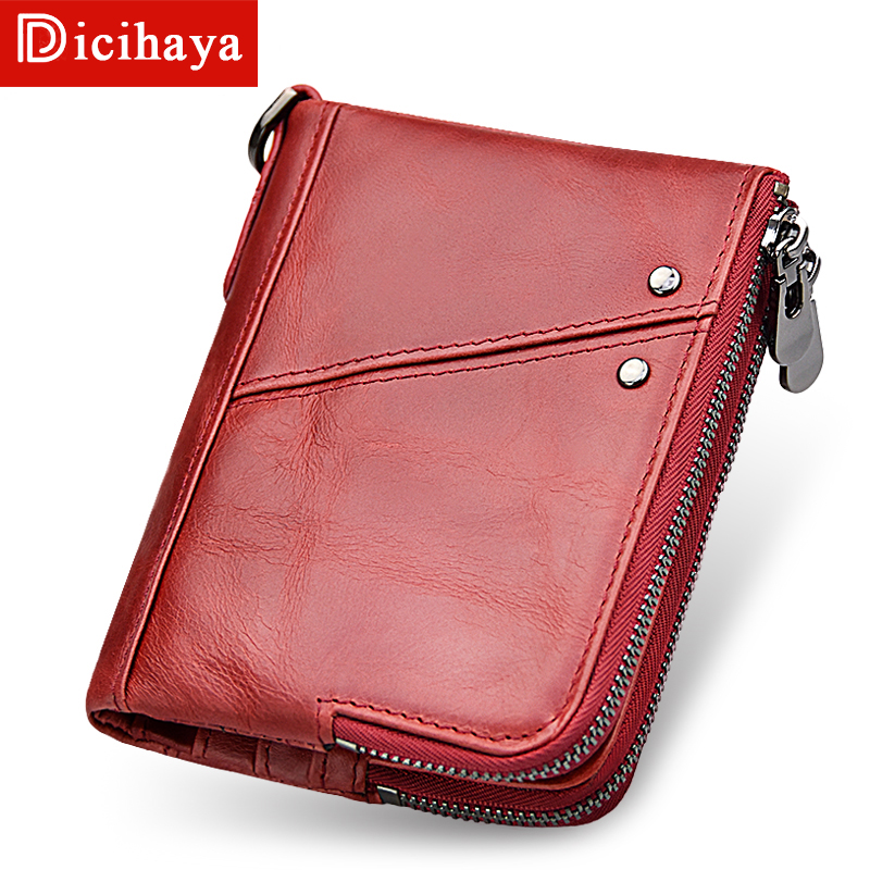 Dicihaya Genuine Leather Women Wallet And Purses Coin Purse Female Small Portomonee Rfid Walet Red Zipper Wallets Girl Money Bag relogio masculino binkada skeleton mens automatic mechanical watches men military sport luminous watch male clock wristwatch