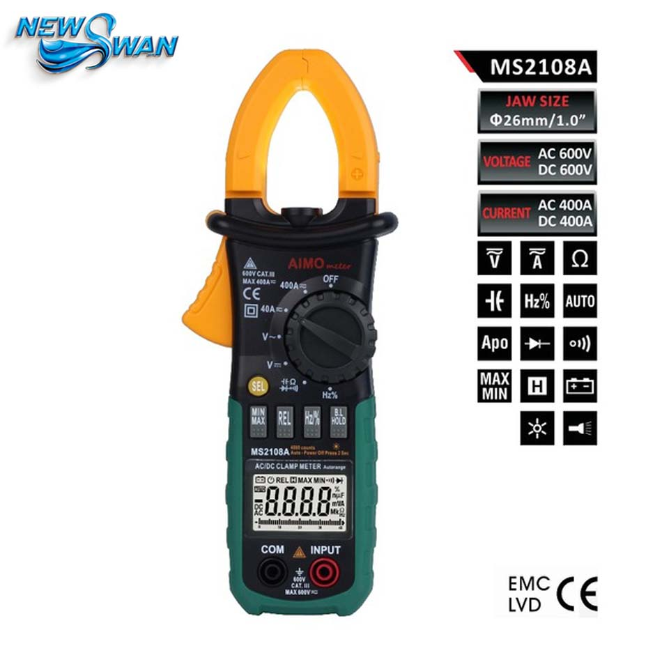 4000 Counts Digital Clamp Meter MS2108A Clamp Multimeter DC/AC Voltmeter Current Meter Resistance Capacitance Frequency Tester auto digital multimeter 6000counts backlight ac dc ammeter voltmeter transform ohm frequency capacitance temperature meter xj23