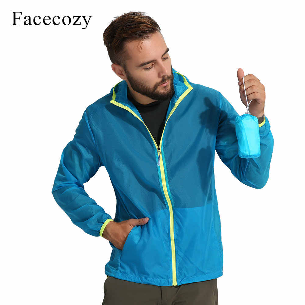 Facecozy Men's Summer Hiking Camping Sun-Protective Jackets Outdoor Sports Waterproof Quick Dry Coat Breathable Hooded Shirts
