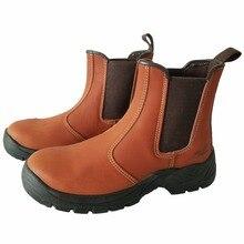 Botas de seguridad con punta de acero para hombre, zapatos de seguridad con punta de acero, con plataforma de cuero genuino, sin cordones, talla grande