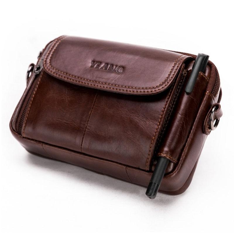YIANG Men Genuine Leather Crossbody Shoulder Bag High Quality Fashion Belt Waist Fanny Pack Phone Cigarette Case Bag Wallet New