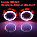 New Motorcycle Headlight  35W AC 2.5'' HID Bi xenon Lens Projector Double LED Angel Eyes Halo Hi/Low Headlamps Lenses
