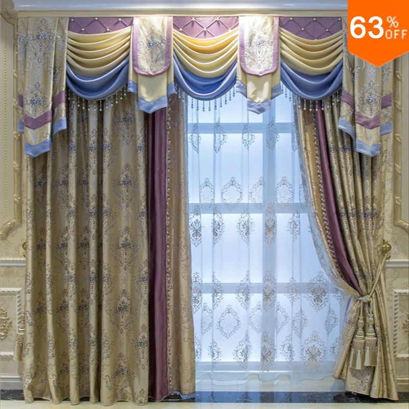 Yellow With Green Embroidery Patchwork Pink Curtains For