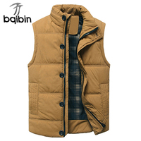 Thick Warm Winter Vest For Cotton Men Autumn Male Casual Hot Solid Button Sleeveless Jacket Classic Mens Travel Brand Waistcoat