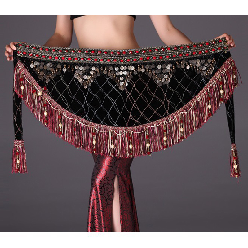 2018 Bellydance Hip Scarf With Coins Belly Dancing Coin Belt Belly Dance Set Indian Accessories Stage Clothing For Dancing