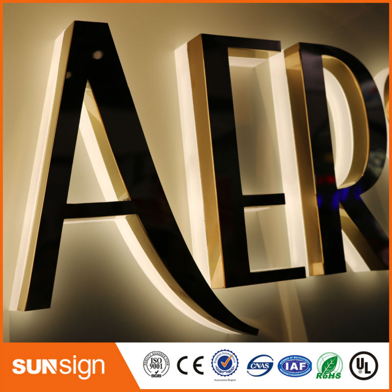 Wholesale Advertising Rose Gold Stainless Steel LED Backlit Letter Sign
