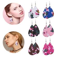 Trendy Drop-shaped Printed PU Leather Earring Retro Print Colorful Dangle Big Drop for Women Pierced Jewelry