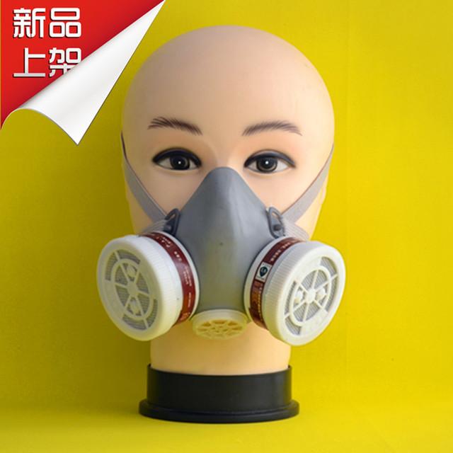 2015 nuevo doble tanque de polvo del filtro máscaras de protección respirador carbón respirador de media máscara