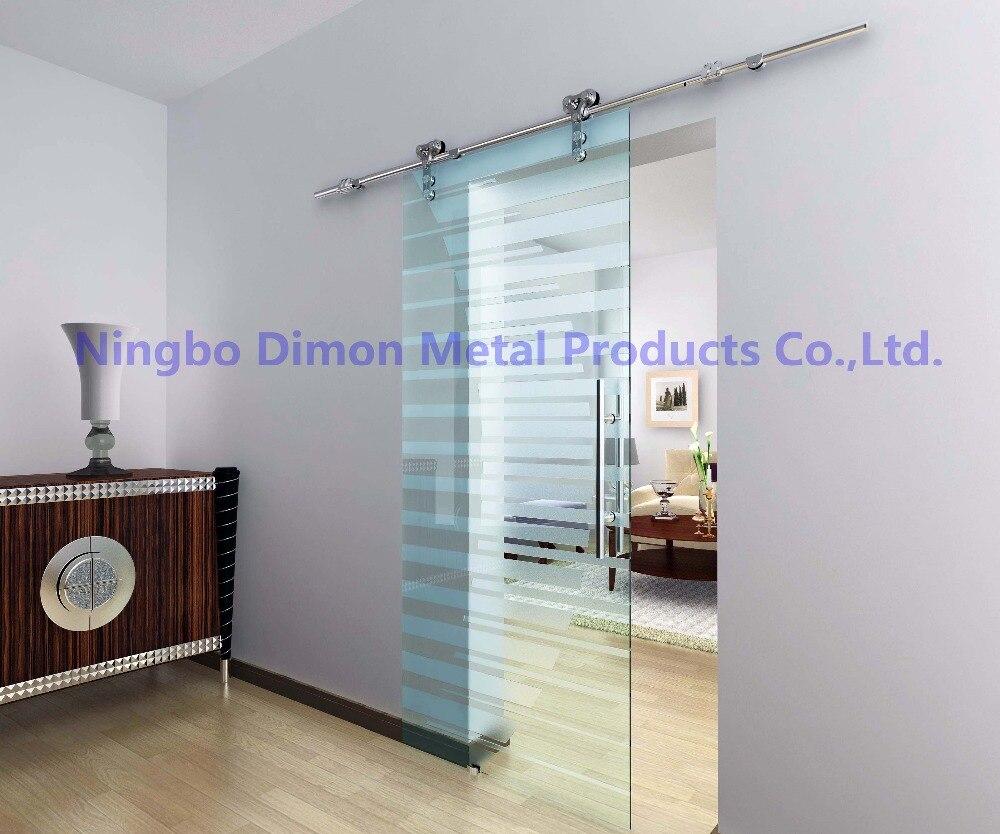 Livraison gratuite Dimon vente chaude style américain en acier inoxydable 304 satin verre porte coulissante grange matériel DM-SDG 7008 sans barre - 4