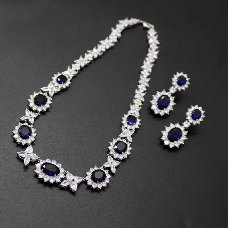 Brand Fine Custom Jewelry For Women Flower Wedding Blue Crystal Party Jewelry Set Big Design Party Banquet Neckacle Earrings Set top quality fashion party custom jewelry for women colorful crystal earrings luxcy party earrings fine custom jewelry earrings