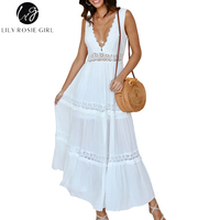 Lily Rosie Girl Sexy Lace Hollow Out White Women Maxi Dresses 2018 Summer Party Beach Elegant