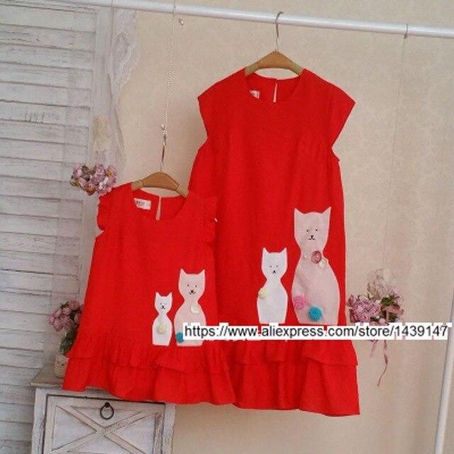 Children clothing Мать и Дочь платья Милый мультфильм кошка, 2-10 лет ребенок Девочка платье, женщины плюс Большой размер 4XL