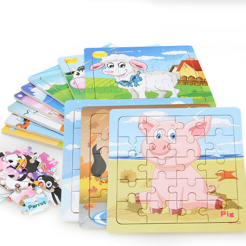20 Small Piece Wooden Puzzle Kids Toy Baby Wooden Jigsaw Puzzles Cartoon Dinosaur Animal Early Educational Toys For Children