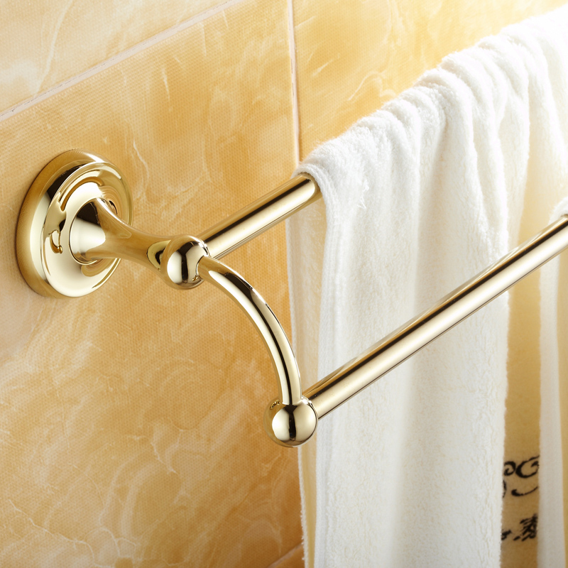 Golden Solid Brass Towel Rack Antique Polished Bathroom Double Towel Bar Wall Mounted Towel Holder Bathroom Accessories LG03 golden polished bars wall mounted single towel rack bar towel holder solid brass bathroom accessories 3 colors towel holder