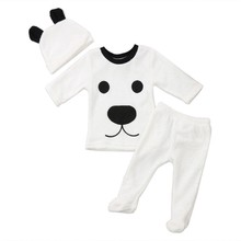 Baby Autumn Winter Clothes Set Warm Casual Cute Tops+Pants+Cap 3Pcs Kids Infantil Bebies Clothing Suit Cartton Kids Costume 0-2T(China)