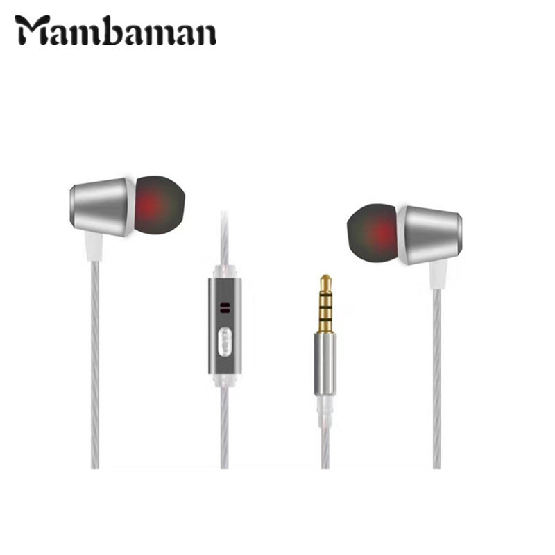 Mambaman Metal Earphones Music Earbuds Stereo Gaming Headset for Phone Xiaomi with Microphone for iPhone 5s 6 Samsung computer