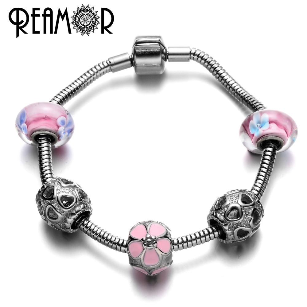 Reamor Pink Enamel Cherry Blossoms Charm Bracelet With Stainless Steel  Heart & Flower Murano Glass Beads